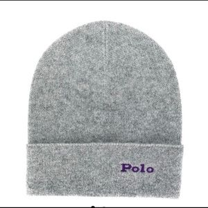 NEW Polo Cashmere Embroidered Charcoal Grey Beanie